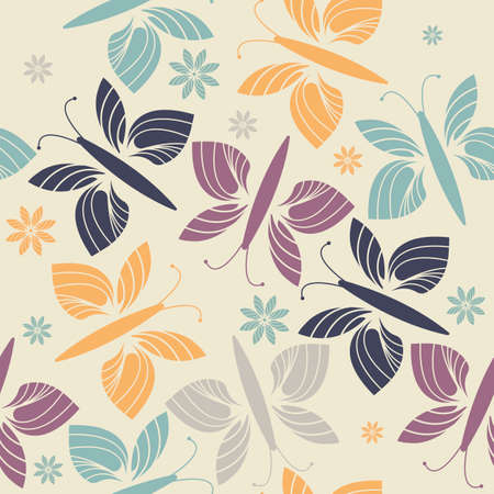 tender: Decorative endless pattern with trendy flowers and butterflies. Stylish endless template can be used for design fabric, tile, linen, kids clothes and more creative designs.