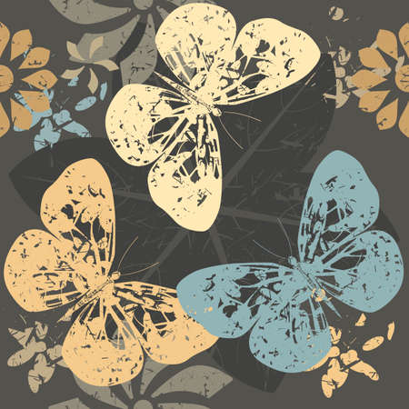 textile industry: Autumn Seamless  Pattern with Butterfly silhouettes on blossom flowers. Great for background, surface textures, textile industry and wrapping.
