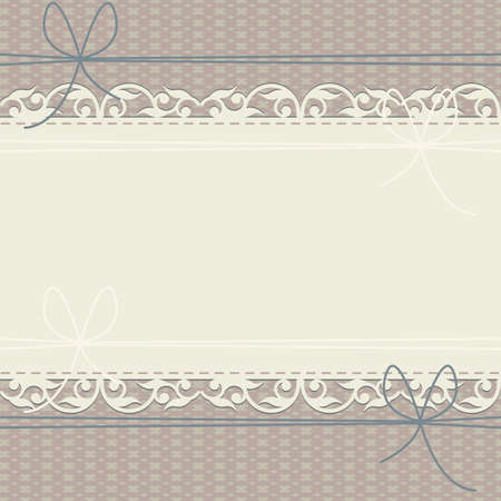 chequered ribbon: Horizontal lace frame with geometric ornament and bows for your creative designs. Stylish cover can be used for greeting card or invitation.