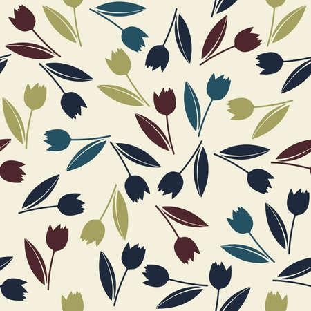 interminable patrón decorativo con coloridos tulipanes de la primavera flores. Perfecto para el fondo, tarjetas de felicitación y las invitaciones para el día de la boda, cumpleaños y más diseños. Ilustración de vector