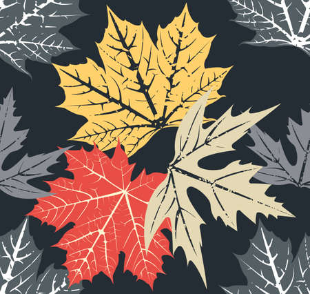 sycamore: Seamless pattern with stylish autumn leaves Vector image.