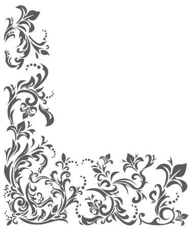 Vector image with floral ornament. Vintage border frame. Vettoriali