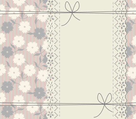 lace frame: Decorative lace ribbon. Abstract cover with lace frame, decorative bows, flowers and leaves. Illustration