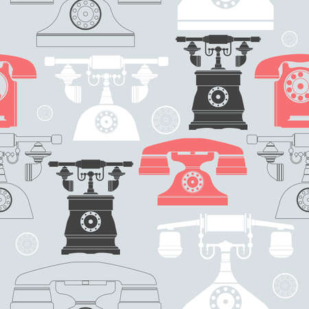 colourfull: Seamless pattern with colourfull vintage old telephones. Stylish template can be used for linen, tile, cover, design fabric and more designs. Illustration