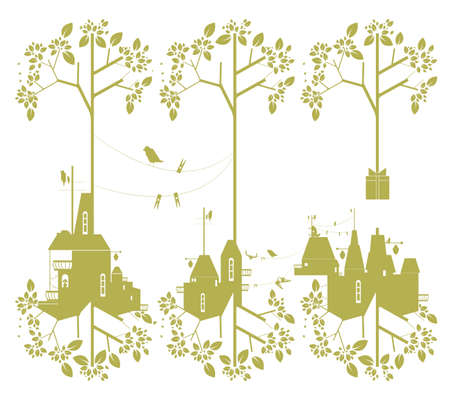 green lantern: Decorative background illustration of green objects: leaves; birds; house; windows; cats; lamp; lantern; clothespins; clothes peg; shirt; rope; balkony; raven; corbie and trees
