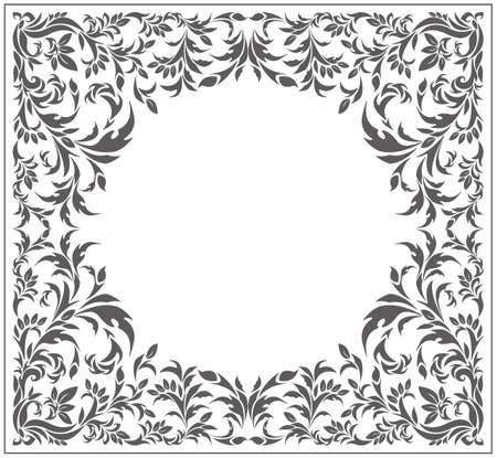 Circle frame with vintage ornament and floral elements. Vector image. Vettoriali