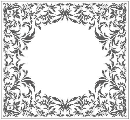 Cerchio cornice con ornamento d'epoca e elementi floreali. Immagine vettoriale.