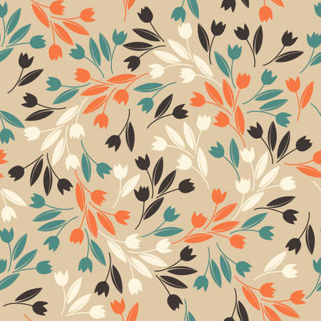 plant design: Endless pattern with decorative tulips.  Stylish template can be used for wallpaper, cards, web pages, textile, linen, tile and more creative designs. Illustration