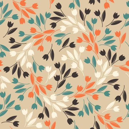 tulipan: Kompletne wzór z ozdobnymi tulipanów. Stylowy szablon może być stosowany do tapety, kart, stron internetowych, tkaniny, len, dachówki i bardziej twórcze projekty. Ilustracja