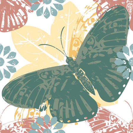 textile image: Elegant pattern with butterfly and floral silhouettes for wrapping paper, textile Industry and more designs. Vector image for your designs.
