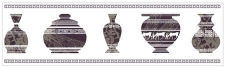 antiquities: Illustration of ancient vase with greek ornaments. Vintage vase for your designs. Illustration