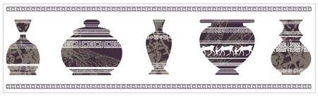 Illustration of ancient vase with greek ornaments. Vintage vase for your designs. Illustration