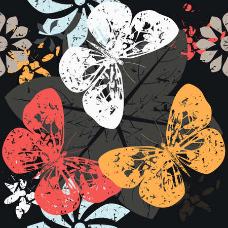 textile industry: Contrast Pattern with Butterfly silhouettes on blossom flowers. Great for background, surface textures, textile industry and wrapping.
