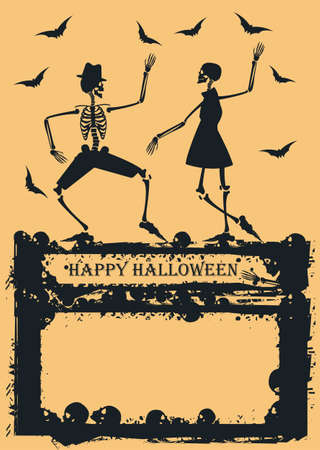 Halloween background with couple skeleton dancing. Elegant Skeleton on yellow background for your creative designs. Image Can be used for Halloween greeting card, posters, banners and invitation.