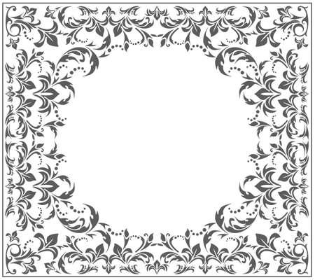 Elegant circle frame with vintage, floral ornament. Vector image