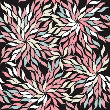 formal garden: Contrast seamless pattern with stylish leaves on black background.  Perfect tile background for handicraft, linen, recipe, crafts, folk art and more creative designs.