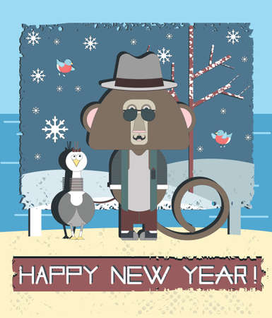 baner: Stylish Happy New Year greeting card With Monkey and Gull bird. Vector illustration can be used for poster, baner and postcard. Illustration