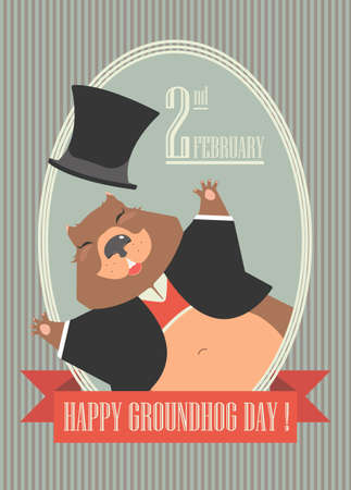 mayor: Happy Groundhog Day design with cute groundhog can be used for greeting card, cover and more designs. Illustration