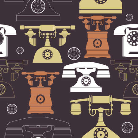 retro grunge: Colorful vintage phone pattern. Illustrations of a big selection of old telephones with dark outline and pastel background colors. Template can be used for design fabric and more creative designs.