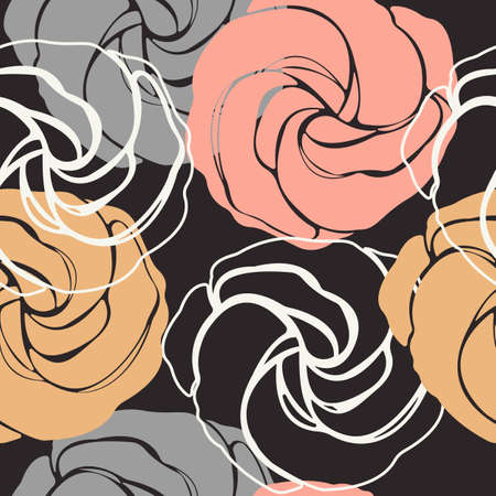 linen texture: Elegant seamless pattern with cute roses. Stylish texture with flowers and cute background for linen, tile design fabric, textile and more creative designs. Illustration