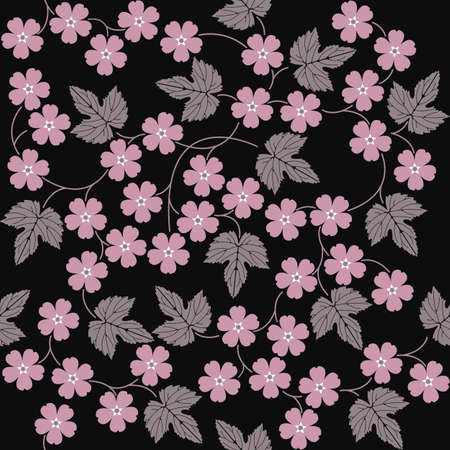portiere: Elegant seamless pattern with flowers and leaves. Stylish template can be used for linen, drape, portiere and more creative designs. Illustration