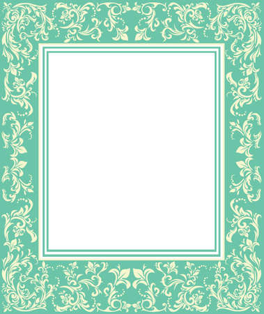 Elegante cornice verde con ornamenti d'epoca per i vostri disegni. Telaio con disegno a colori gara per biglietto di auguri, invito e poster.
