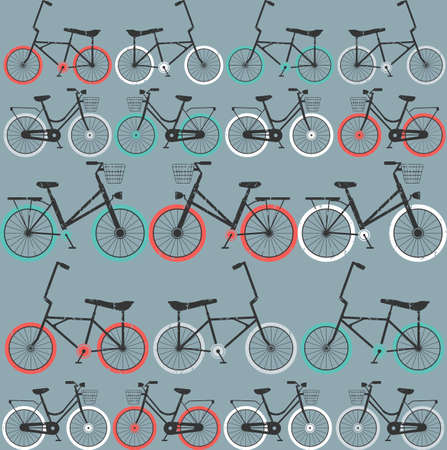Pattern with retro bicycles on light blue background can be used for wallpaper, background, textile, cover and more creative designs.