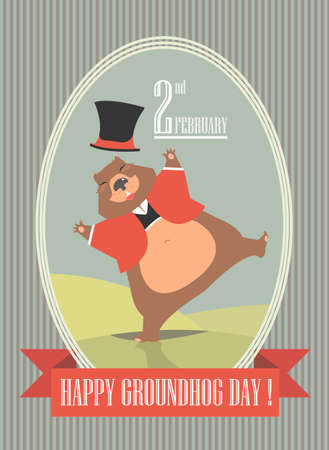 mayor: Happy Groundhog Day illustration with cute groundhog can be used for greeting card, cover and more designs. Illustration