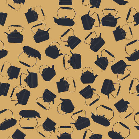kettles: Endless pattern with kettles silhouettes can be used for design fabric, textile, kitchen designs, menu designs and more creative projects. Vectores