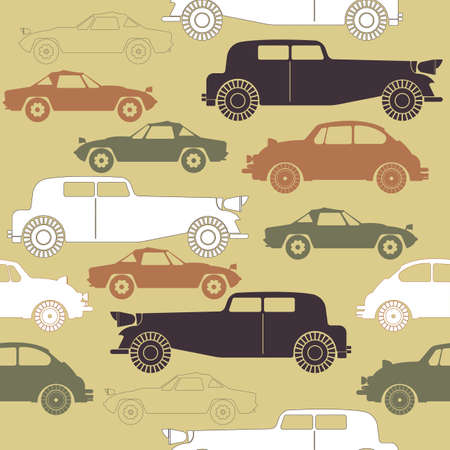 Creative  seamless pattern with set of retro cars.  Perfect template for wallpaper, retro card, paper, linen,  tissue, design fabric, coloring wallpaper and more creative designs.