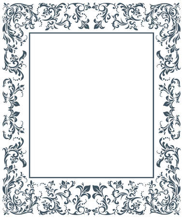Vector image with floral ornament. Vintage frame. Vettoriali