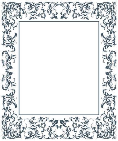 Immagine vettoriale con ornamento floreale. Cornice d'epoca.