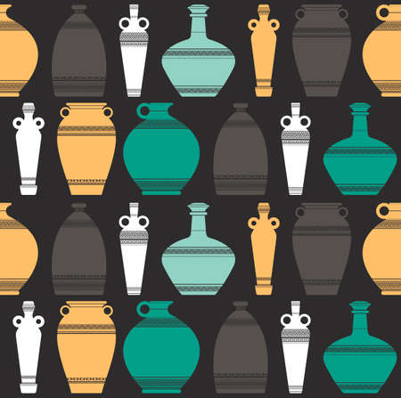 Vector silhouettes collection of colorful ancient greek vases. Seamless pattern of ancient amphorae and vases with traditional Greek abstract meander ornament.