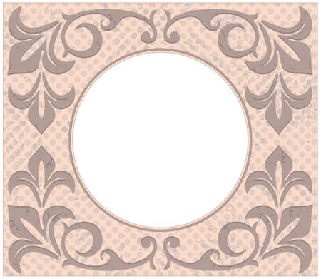 Retro circle frame with stylish vintage ornament and floral elements.Can be used for  greeting card, invitation, poster,