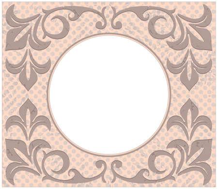 Retro cerchio telaio con elegante ornamento d'epoca e elementi floreali. Può essere utilizzato per il biglietto di auguri, l'invito, il manifesto,