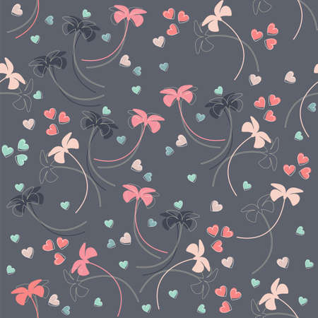 Seamless pattern with colorful flowers and hearts. Endless pattern can be used for wallpaper, pattern fills, web page background, surface textures, linen, tile and more creative designs.