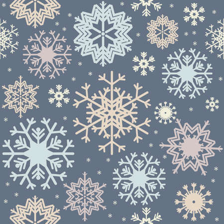 variegated: Christmas seamless pattern with variegated colorful snowflakes.  Stylish background for your creative designs.