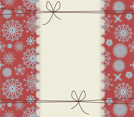 lace background: Stylish winter cover with snowflakes. Cute lace frame on red background. Happy New Year Greeting card with lace border. Retro Christmas frame with cute bows for your designs. Illustration