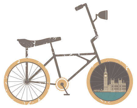 westminster: Vector illustration of Symbol Bicycle Modern,  Travel and Healthy Lifestyle.  Vector illustration of the Great Bell of the clock at the north end of the Palace of Westminster.