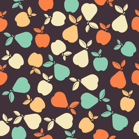 Seamless pattern with colorful fruits. Seamless pattern with apples and pears. Perfect for wallpapers,  surface textures, textile, kids cloth, pattern fills, web page backgrounds and more creative designs. Illustration
