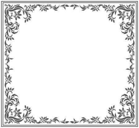 Circle frame with vintage floral ornament. Vector image for your designs. Vettoriali