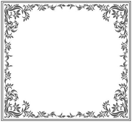Cerchio cornice con ornamento floreale d'epoca. Immagine vettoriale per i vostri disegni.