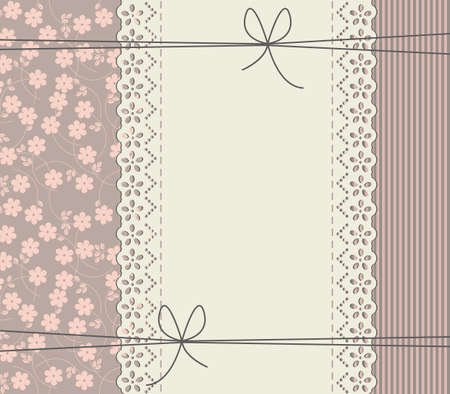 needlecraft product: Floral background with lace frame. Vector vintage freedom concept. Retro frame can be used for wedding invitation, greeting card, baby shower invitation and more creative designs.