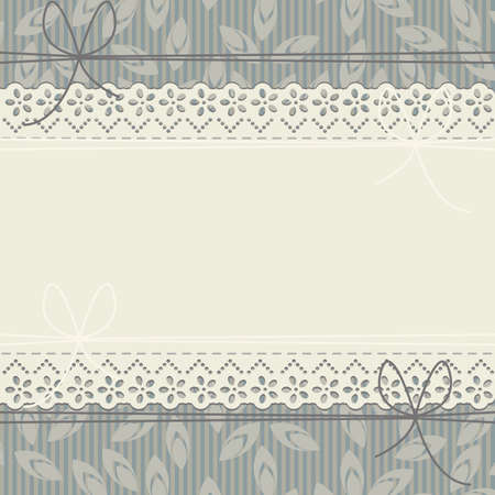 lace frame: Stylish lace frame with bows, leaves and lines. Cute background can be used for wedding invitation,  baby shower, birthday greeting card and more designs.