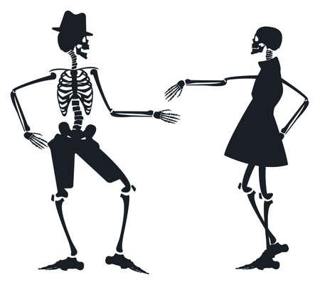 esqueleto: Imagen del vector con dos siluetas de esqueleto se puede utilizar para la tarjeta de felicitación de Halloween, carteles, pancartas, invitación y más diseños.