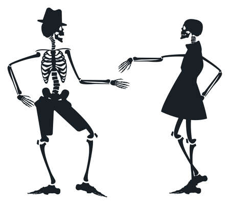 skeleton: Vector image with two skeleton silhouettes can be used for Halloween greeting card, posters, banners, invitation and more designs. Illustration