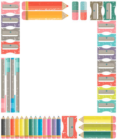 young schoolchild: School and office frame for stationery, scrapbooks. Vector image