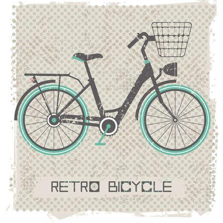 bicicleta retro: bicicleta retro en el fondo de la vendimia. postal elegante para sus diseños. Ilustración del vector.