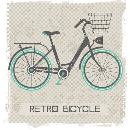 bicicleta retro: Retro bicycle on vintage Background. Stylish postcard for your designs. Vector illustration.
