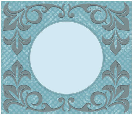 Retro circle frame with grunge ornament and floral elements.Vintage frame can be used for  greeting card, invitation, poster.
